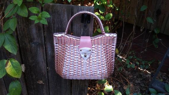 1950s Vintage Wicker Handbag - 1950 Wicker Purse -