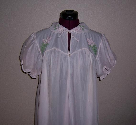 Vintage Peignoir Pink Peignoir Nylon Dressing Gown