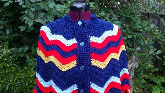 Vintage Poncho Chevron Poncho Crocheted Poncho Red