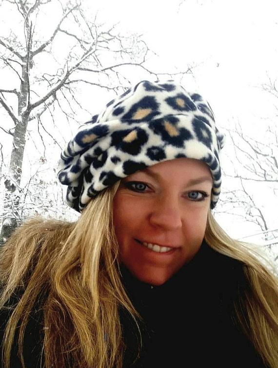 8f8cdc50 Cheetah print Handmade hat Fleece Slouch Beanie SLOUCH hat   Etsy