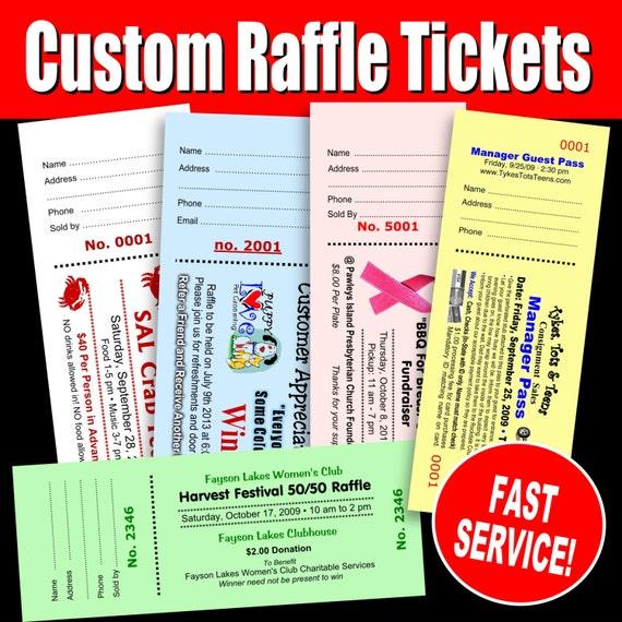 500 custom raffle tickets preforated stub numbered booked etsy