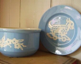 Vintage Harker Pottery Blue Cameo Ware - Two 1940s Pieces - Blue Cameo Dainty Flower 6 Inch Bowl and Blue Cameo Goat Cart Childs Plate