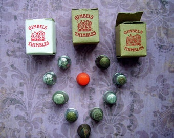 Instant collection lot of 13 vintage thimbles: metal, aluminum, brass, celluloid / plastic & 3 Gimbels collectable thimbles – Baker's dozen