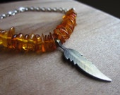 Silver Feather Necklace , Amber Chips, Fire Orange, Silver Chain