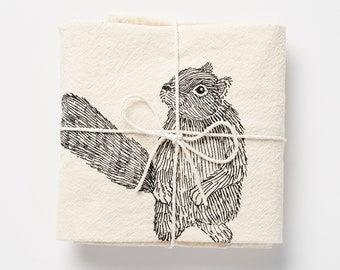 Squirrel Illustrated Flour Sack Towel, Natural Screen-Printed Tea Towel, Large Cotton Urban Woodland Kitchen Dish Towel, by SKT Ceramics