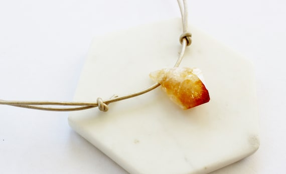 Citrine & Leather Pendant