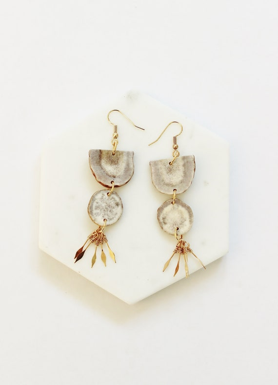 Large Antler Sunburst Earrings
