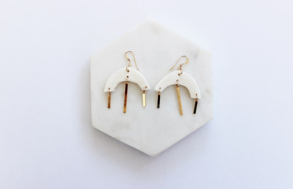 Cattle Bone & Gold Bar Earrings