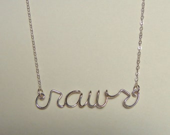 """Word necklace, """"rawr"""" in sterling silver"""