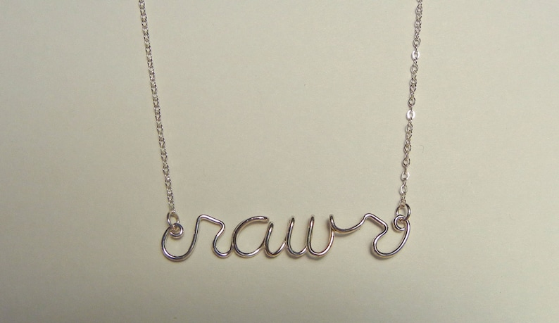 Word necklace rawr in sterling silver image 0