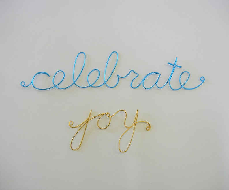 Wire words in rainbow colors  wall decor-priced to sell image 0