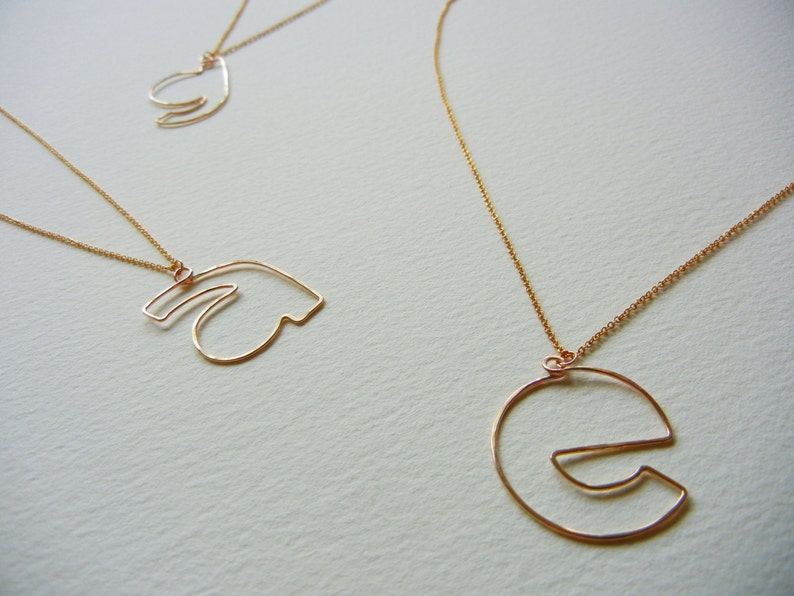 Lowercase Initial Necklace-Personalization Jewelry-14k Gold image 0