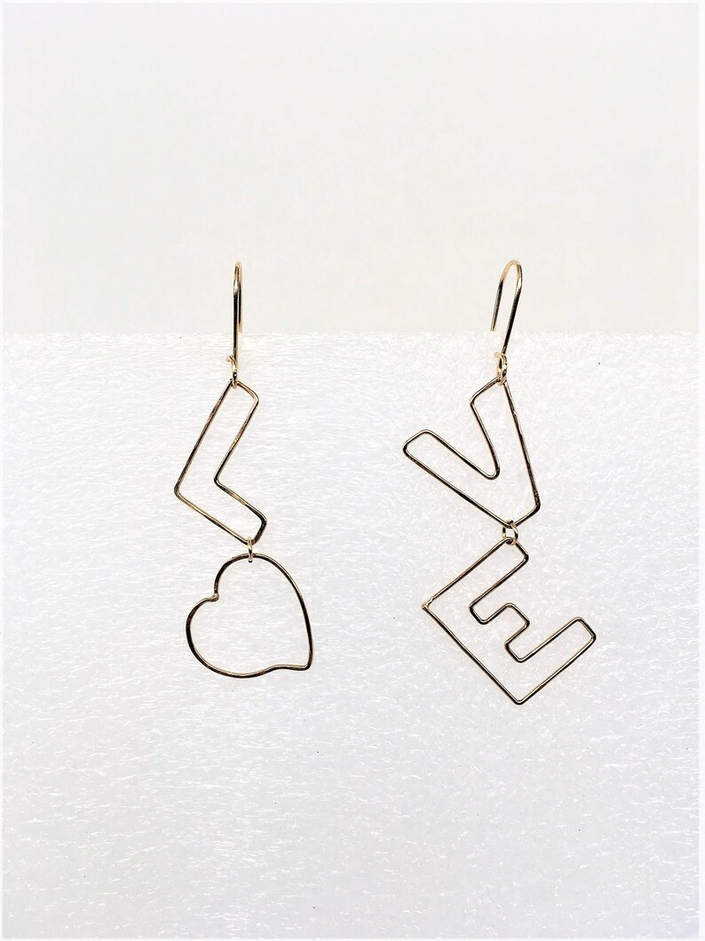 LOVE earrings with the heart shape for letter O in 14K image 0