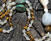 Tiger Eye, Turquoise, and Moonstone Mala, Prayer Beads