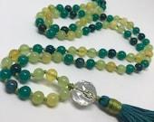 Opal, Onyx, Amazonite, Apatite, Quartz Mala Beads, Prayer Beads, Green Mala, Blue Mala