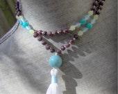 Lepidolite Mala, Amazonite Mala, Serpentine Mala, Chalcedony Mala, Prayer Beads