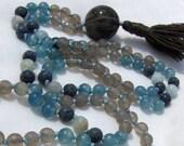 Gray Moonstone Mala, Blue...