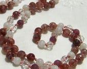 Strawberry Quartz Mala, Rainbow Moonstone Mala, Quartz Mala, Ruby Mala, Pink Mala, Red Mala