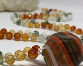 Carnelian Mala | Quartz Mala | Moonstone Mala | Murano Glass | Italian Glass | Prayer Beads | Japa | Yoga Jewelry | Meditation | Orange