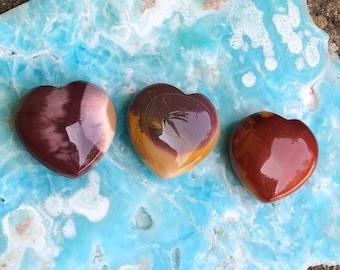 One Mookaite Jasper Crystal Heart, Approx 31mm