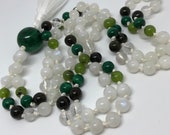 Malachite and Moonstone Mala, Jade, Tourmaline, Rainbow Moonstone Prayer Beads, Yoga Necklace, Meditation Beads
