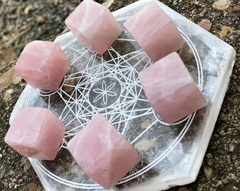Pink Rose Quartz Crystal Cubes for Gridding, Magic, Crystal Therapy, Rock Collectors, Crystal Magic, Love, Relationships