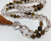 Quartz Mala / Grossular Garnet Mala / Tiger Eye Mala / Quartz Crystal Necklace / Prayer Beads / Yoga Necklace / Meditation / Japa / Boho
