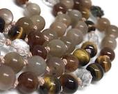 108 Moonstone Mala Bead Necklace, Hessonite Garnet, Tiger Eye, Quartz, Pyrite Roses, Yoga Jewelry, Meditation Necklace, Japa, Kundalini
