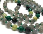 Labradorite Mala Beads, Green Tourmaline, Green Garnet, Malachite Prayer Beads, Japa Kundalini Yoga Meditation