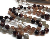 Sunstone Mala, Dragon's Eye, Labradorite, Quartz Yoga Mala, Prayer Beads, Japa, Kundalini, Meditation