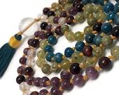 Lepidolite Mala Beads Necklace Green Garnet Red Tigers Eye Apatite Quartz Prayer Beads Yoga Meditation Kundalini Crystal Gemstone Japa