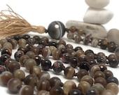 Grounding Masculine Mala Bead Necklace, Agate Mala, Bronzite Mala, Tigers Eye Mala, Jasper Mala, Chakra, Yoga, Meditation, Japa, Crystals