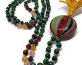 Malachite Mala / Murano Glass / Mala Beads / Yoga and Meditation / Italy / Italian Glass Mala / Carnelian Mala / Venetian Mala / Green Mala