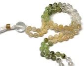 108 Unique Mala Necklace for Manifestation | Prehnite, Citrine, Selenite, Calcite, Quartz, Onyx | 6mm Gemstone Mala Beads | Meditation Beads