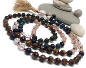 Gemstone Mala Beads Necklace | Golden Tigers Eye | Jade | Blue Goldstone | Rutilated Quartz | Boho | Yoga | Meditation
