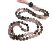 Botswana Agate and Rose Quartz Mala Bead Necklace, Japa Mala for Grief, Yoga, Meditation, Gift, Mother's Day, Pink Mala