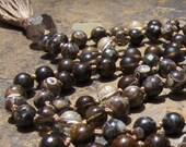 Turritella, Smoky Quartz, Pyrite, Citrine, Bronzite Mala Beads, Prayer Beads