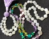 Moonstone Amethyst Malachite Amazonite Peridot Green Garnet Jade Fluorite Rose Quartz Pink Mangano Calcite Ruby Mala Beads Prayer Necklace