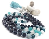 Blue Mala Bead Necklace, Iolite Mala Beads, Aquamarine Mala Beads, Apatite Mala Beads, Rainbow Moonstone Mala Beads, Amazonite Mala Beads