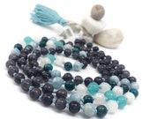 Blue Mala Bead Necklace, Iolite Mala Beads, Aquamarine Mala Beads, Apatite Mala Beads, Rainbow Moonstone Mala Beads, Amazonite Mala Beads