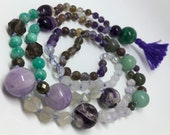 Amethyst Mala, Amazonite Mala, Boho Necklace, Tassel Necklace,  Prayer Beads, Yoga Necklace, Mala Beads