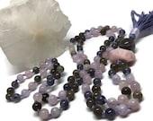 Pink and purple mala necklace, amethyst, iolite, labradorite, rose quartz, kunzite, prayer beads, japa mala, yoga meditation