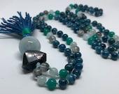 Apatite Mala, Aquamarine Mala Beads, Prayer Beads, Amazonite Mala, Blue Mala, Gemstone Japa Mala