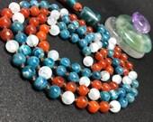 Blue and orange mala beads, Apatite Aquamarine Carnelian yoga necklace, meditation prayer beads, Gemstone Crystal Mineral