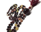 Chakra Mala Beads / Prayer Beads / Meditation / Yoga Necklace / Japa Mala / Rainbow Moonstone /  Red Tiger Eye / Sunstone / Lepidolite Mala