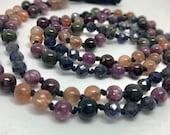 Iolite, Lepidolite, Sunstone, Garnet, Phantom Quartz Mala Beads, Necklace, Japa, Prayer Beads