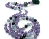 Amethyst Meditation Necklace | Aquamarine and Green Tourmaline Yoga Jewelry | Beads for Meditation and Prayer | Gemstone Mala | Crystals