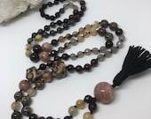 Gemstone Mala Beads, Prayer Beads, Yoga Necklace, Meditation, Tassel Necklace, Boho Necklace