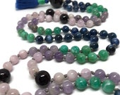 Garnet Mala, Amethyst Mala, Amazonite Mala, Kyanite Mala, Kunzite Mala, Pink, Purple, Blue, Green, Red, Mala Beads, Prayer Beads, Yoga Mala