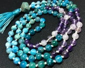 Apatite and Amethyst Mala Bead Necklace, Japa, Meditation, Yoga, Blue and Purple Gemstone Crystal